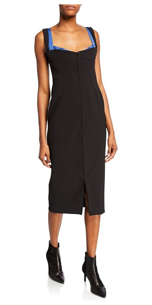 Thierry Mugler Sleeveless Fitted Dress in black pattern