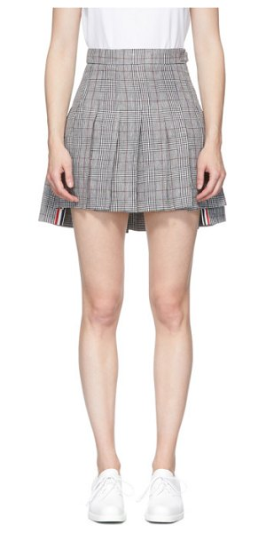 Thom Browne black and white check dropped back pleated miniskirt in 980 blk,wht