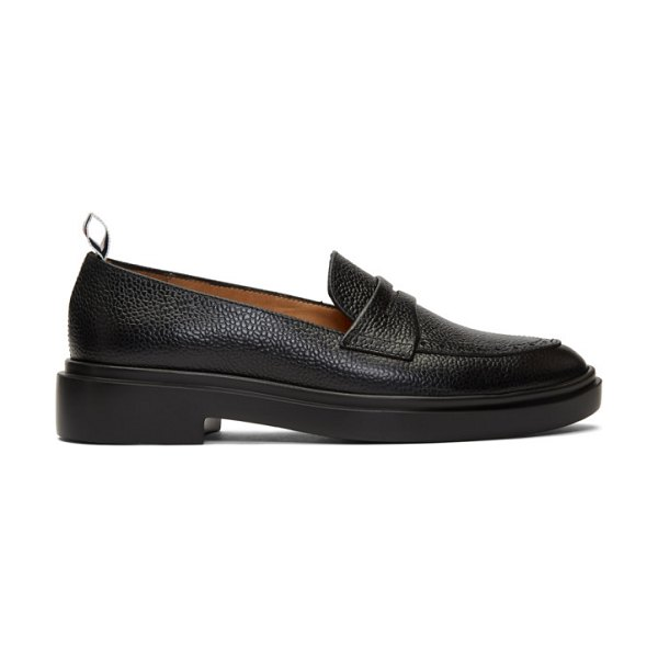 Thom Browne black lightweight sole penny loafers in 001 black