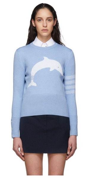 Thom Browne blue dolphin icon 4-bar crewneck sweater in 450 blue