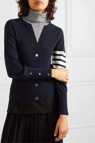 Thom Browne button-detailed striped intarsia cashmere turtleneck sweater in navy