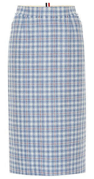 Thom Browne checked wool skirt in blue