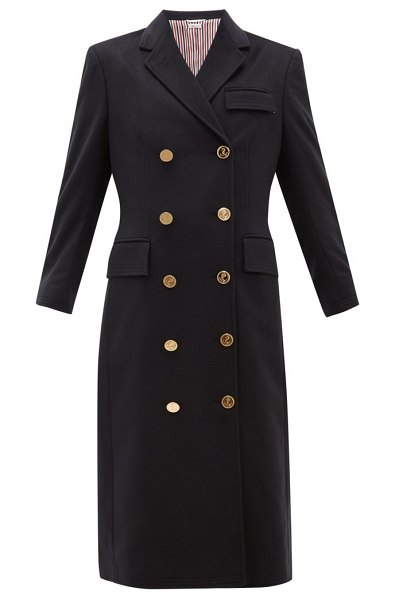 Thom Browne double-breasted tricolour-trim cashmere coat in navy
