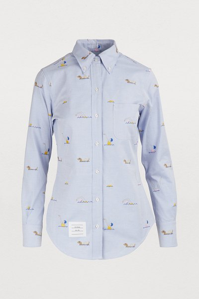 Thom Browne Embroidered shirt in light blue - Thom Browne wants to invoke your inner sailor with this...