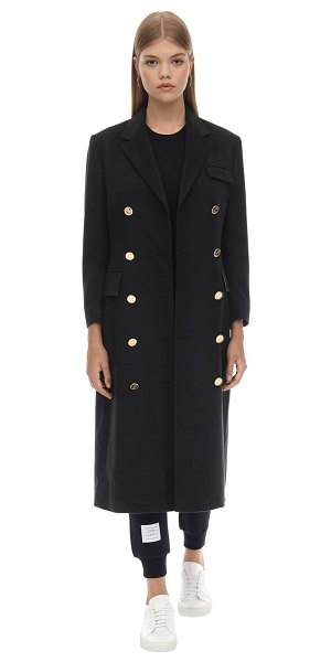 Thom Browne Long double breast cashmere coat in navy