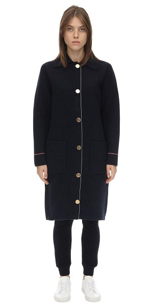 Thom Browne Long overwashed wool & cashmere coat in navy