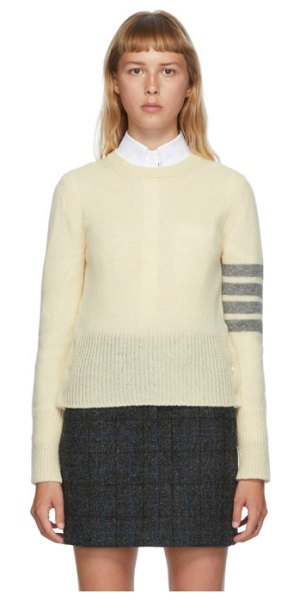 Thom Browne off-white shetland wool 4-bar sweater in 100 white