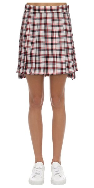 Thom Browne Pleated check wool mini skirt in multicolor