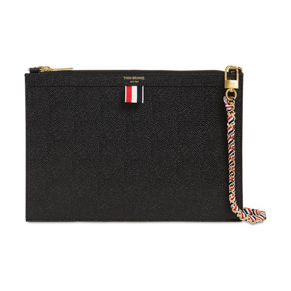 Thom Browne Small grained leather zip clutch in black