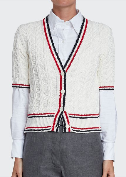 Thom Browne Stripe-Trim Cable-Knit Short-Sleeve Cardigan in white