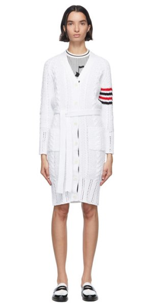 Thom Browne white aran cable 4-bar long cardigan in 100 white