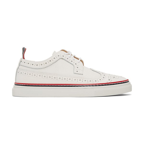 Thom Browne white longwing brogue sneakers in 100 white