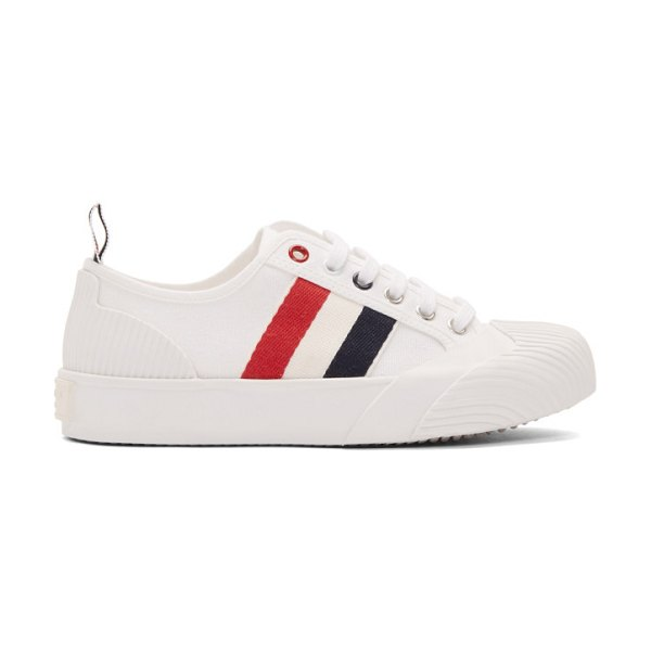 Thom Browne white vulcanized trainer sneakers in 100 white