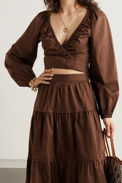 THREE GRACES LONDON clara cotton-voile wrap top in brown