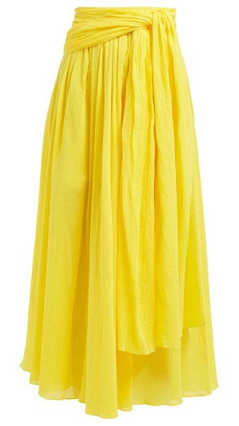 THREE GRACES LONDON dorothea waist tie crinkle cotton skirt in yellow