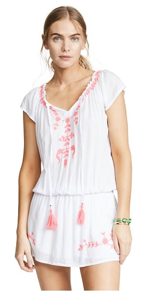 TIARE HAWAII tulum off the shoulder embroidered dress in white/pink