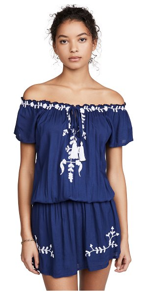 TIARE HAWAII tulum off the shoulder embroidered dress in navy/white