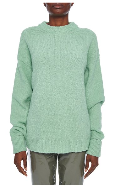 Tibi Airy Alpaca Crewneck Pullover with Arm Band Cuffs in light green
