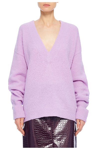 Tibi Airy Alpaca V-Neck Pullover with Arm Band Cuffs in mulberry