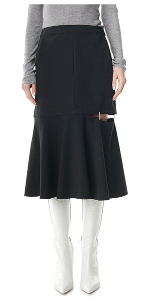 Tibi Anson Stretch Skirt with Cutout in black