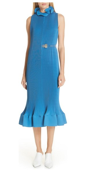 Tibi belted midi dress in blue - An ultrafeminine dress with delicate plisse pleating...