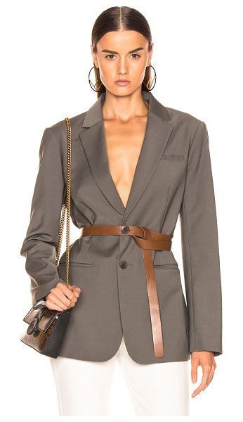 Tibi Blazer with Removable Belt in gray