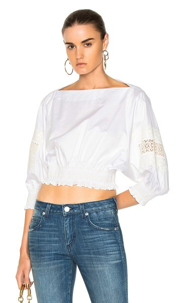 Tibi Cropped Embroidered Top in white - 100% cotton.  Made in China.  Dry clean only. ...