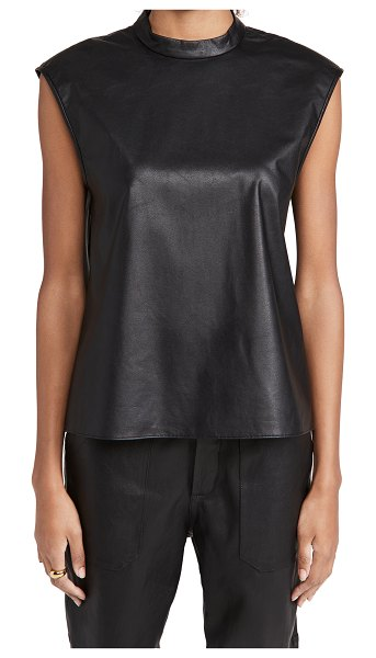 Tibi faux leather mock neck top in black