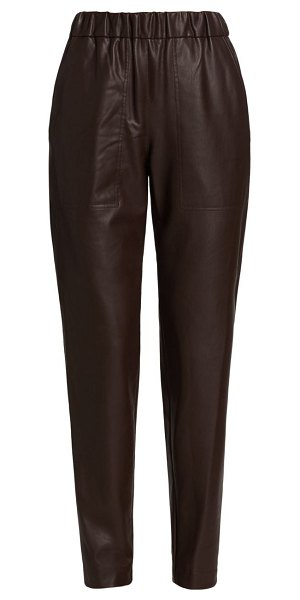 Tibi faux leather pull-on pants in dark brown