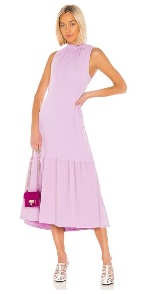Tibi modern drape sculpted drape midi dress in mulberry