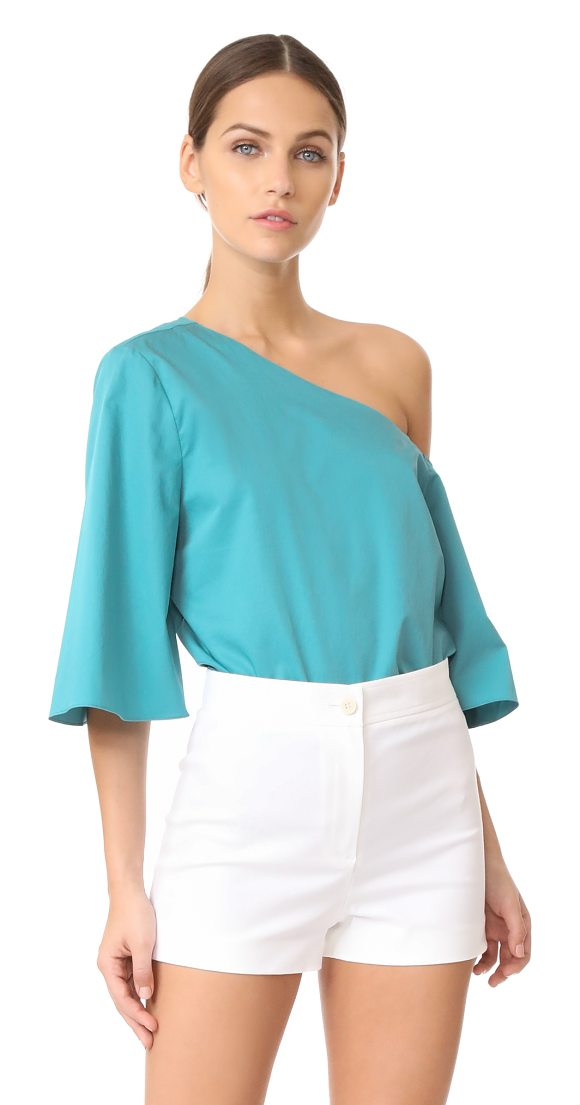TIBI one shoulder bell sleeve top - Exclusive to Shopbop. A Tibi top in a cropped profile. The...