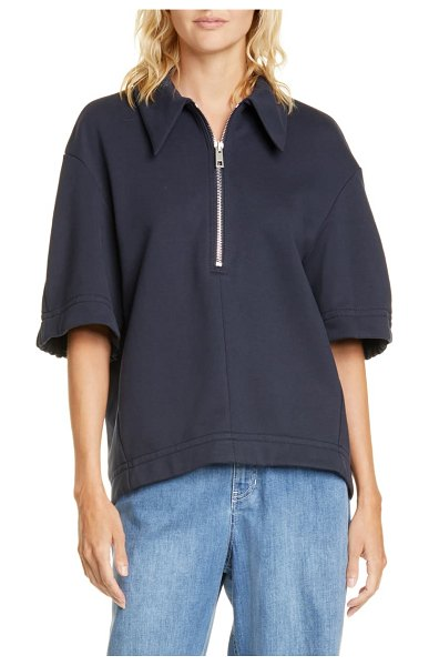 Tibi zip cotton blend top in navy