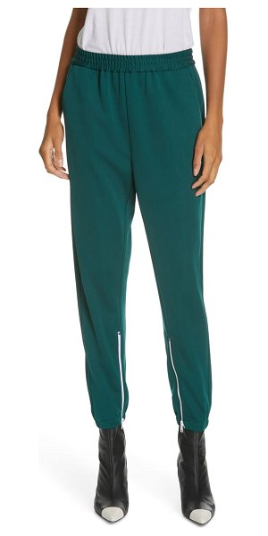 Tibi zip hem joggers in dark green
