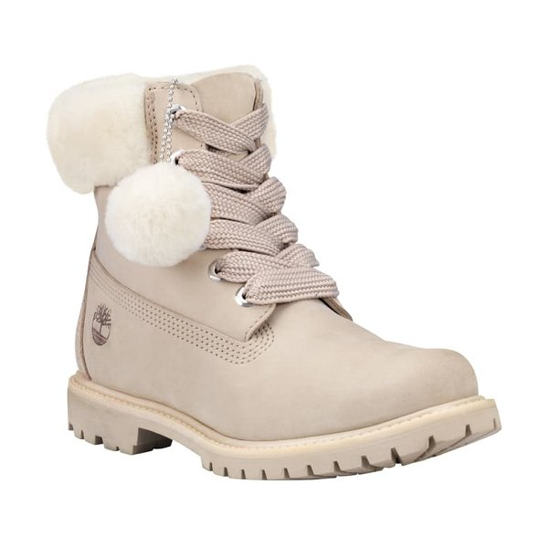 Timberland genuine shearling collar waterproof bootie in light taupe nubuck leather