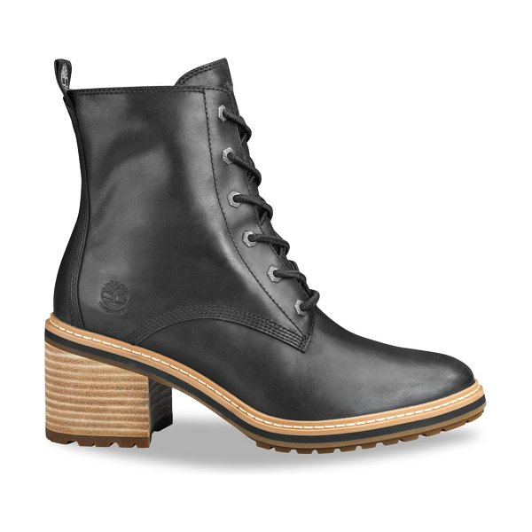 Timberland sienna leather combat boots in jet black