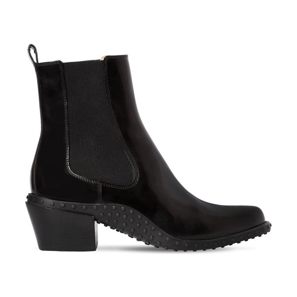 Tod's 50mm brushed leather cowboy boots in black