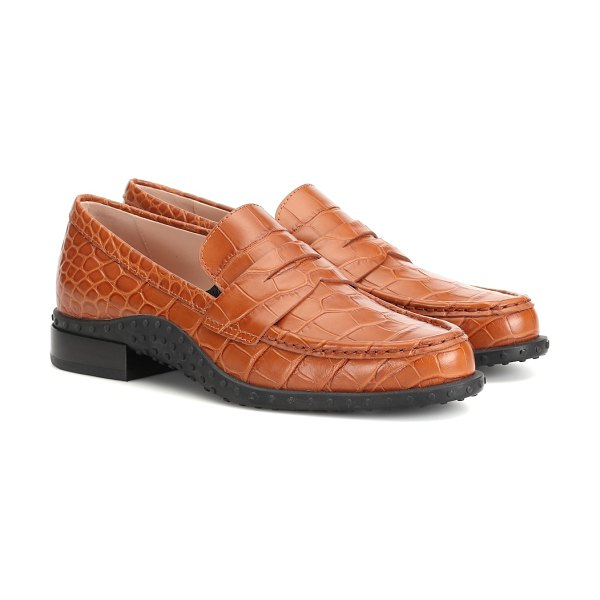 Tod's croc-effect leather loafers in brown