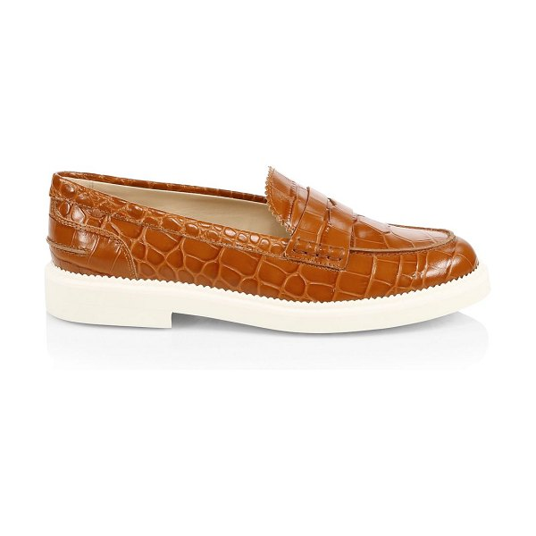 Tod's croc-embossed leather penny loafers in brown