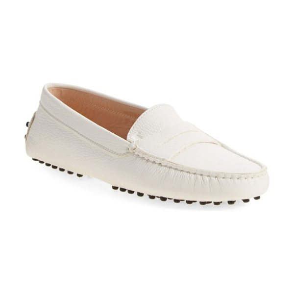 Tod's gommini driving moccasin in ivory leather