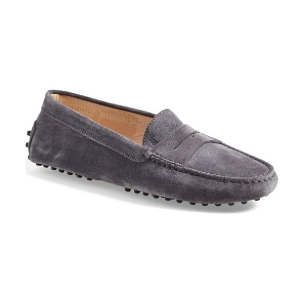Tod's gommini driving moccasin in grey suede
