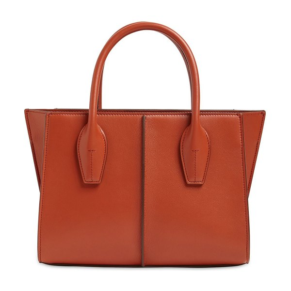 Tod's Small lee leather shopping tote bag in terracotta