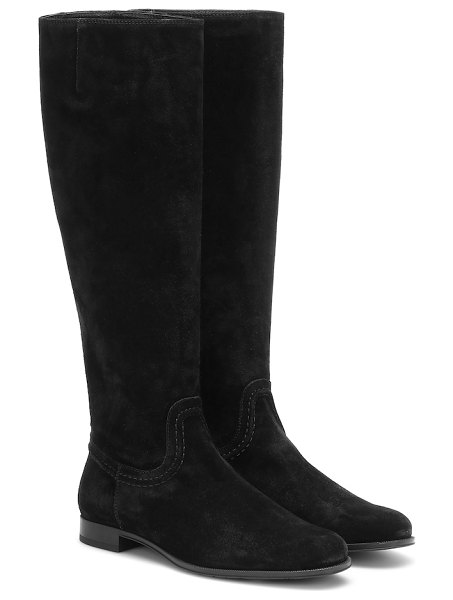 Tod's suede knee-high boots in black