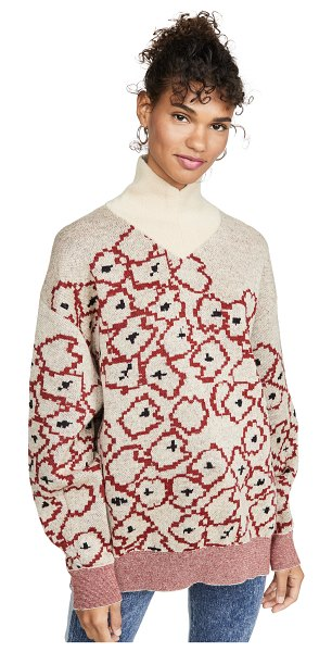 TOGA PULLA mohair flower jacquard knit pullover in off white