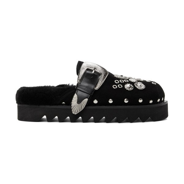 TOGA PULLA suede buckle loafers in black