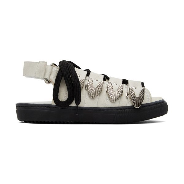 TOGA PULLA suede hardware sandals in white