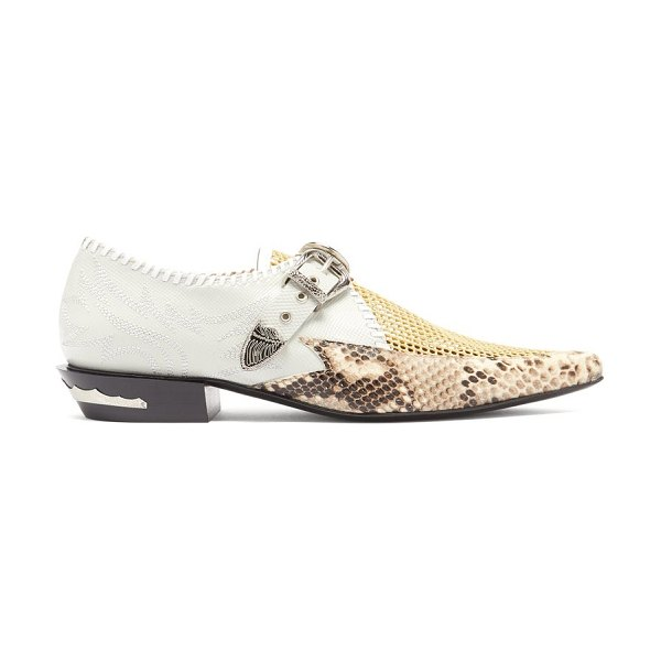 TOGA python-embossed point-toe leather brogues in grey multi