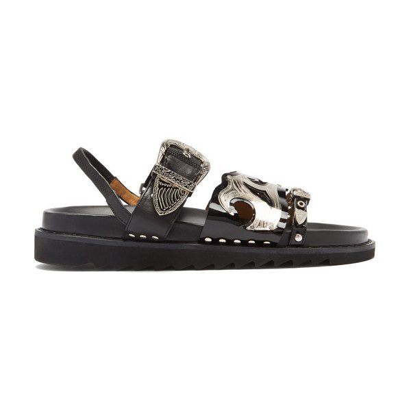 TOGA triple-strap leather sandals in black
