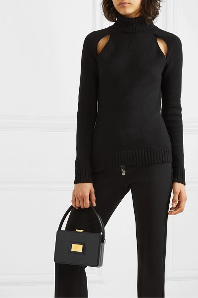 TOM FORD box small leather tote in black