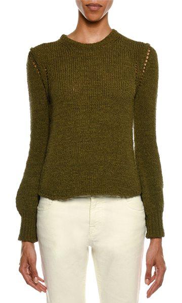 TOM FORD Crewneck Long-Sleeve Knit Sweater in olive - Tom Ford textured knit sweater. Crew neckline. Long...