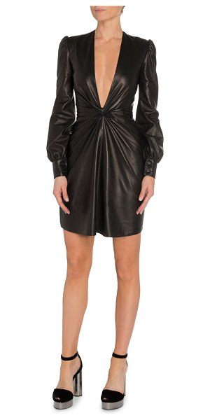 TOM FORD Deep V-Neck Leather Cocktail Dress in black